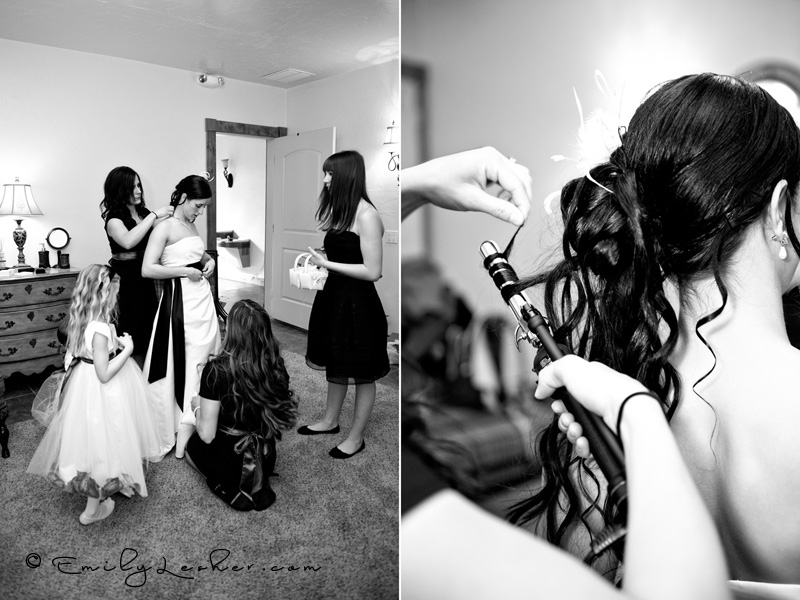 bride and bridesmaids, getting ready for wedding