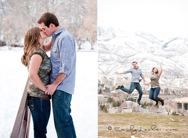 engaged couple, kiss