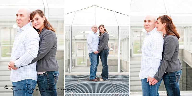 engaged couple in front of glass house