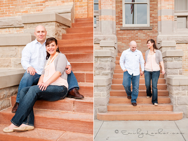 engagement pictures on stairs