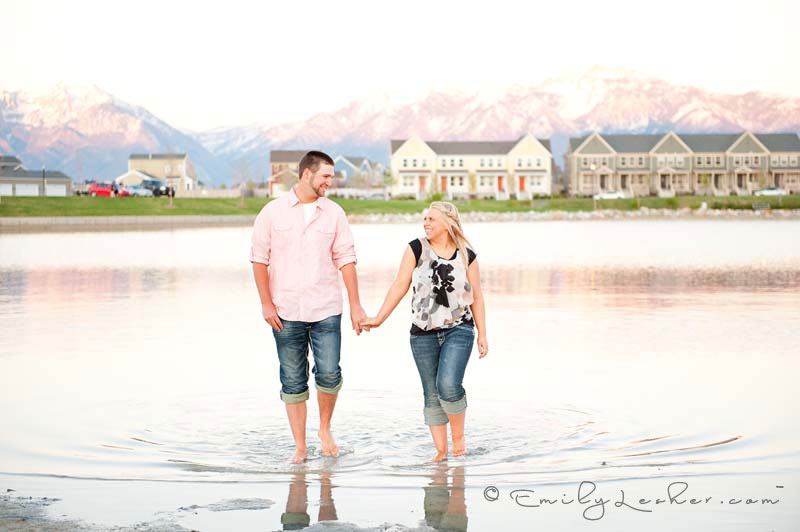 couple walking in the water