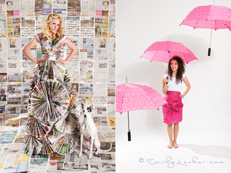 newspaper dress, pink umbrellas