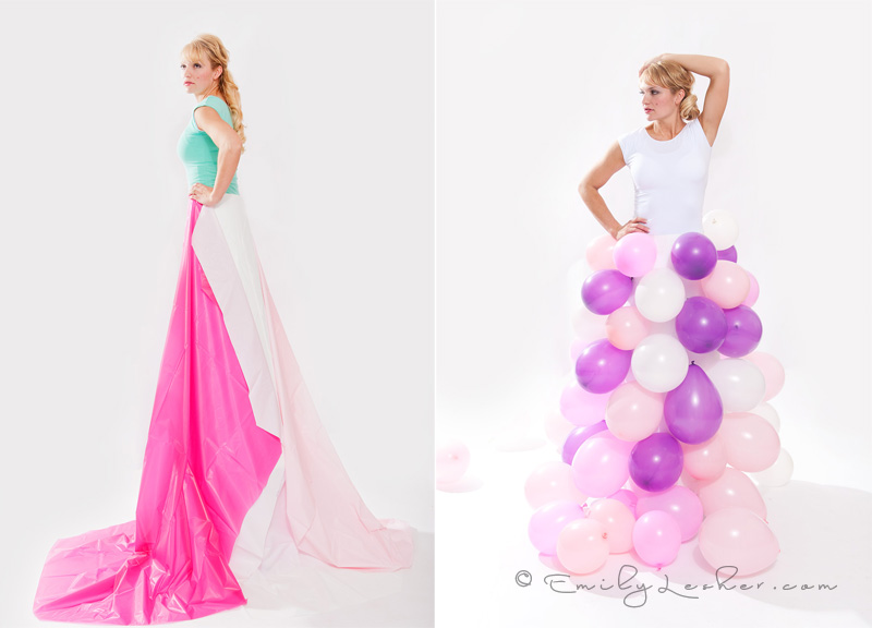 table cloth dress, colored balloon dress
