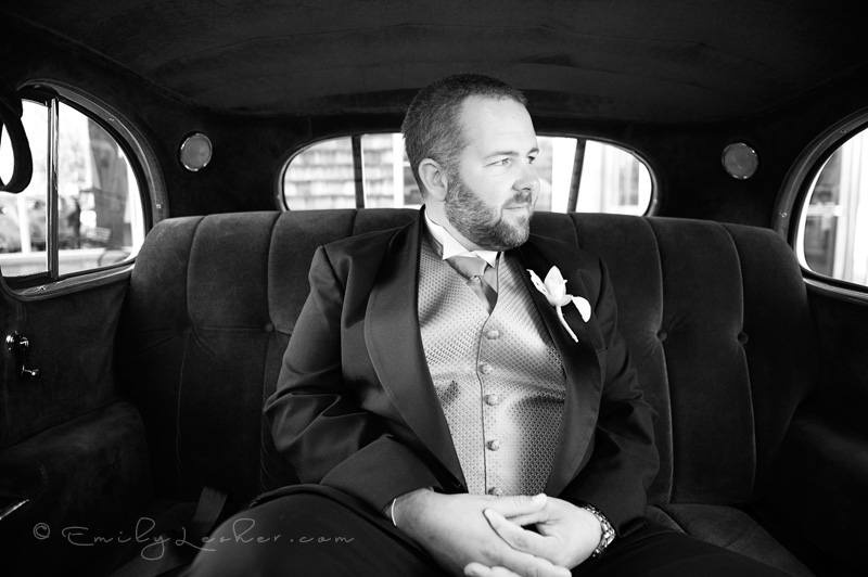 Groom in old fashioned car