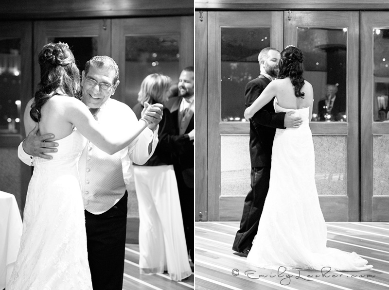 bride and groom dancing, bride and father dancing