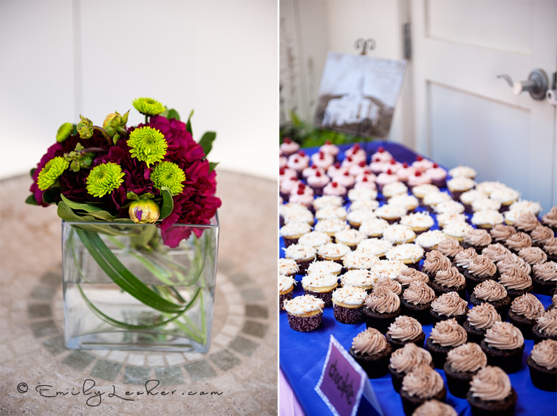 flower center pieces, wedding cupcakes