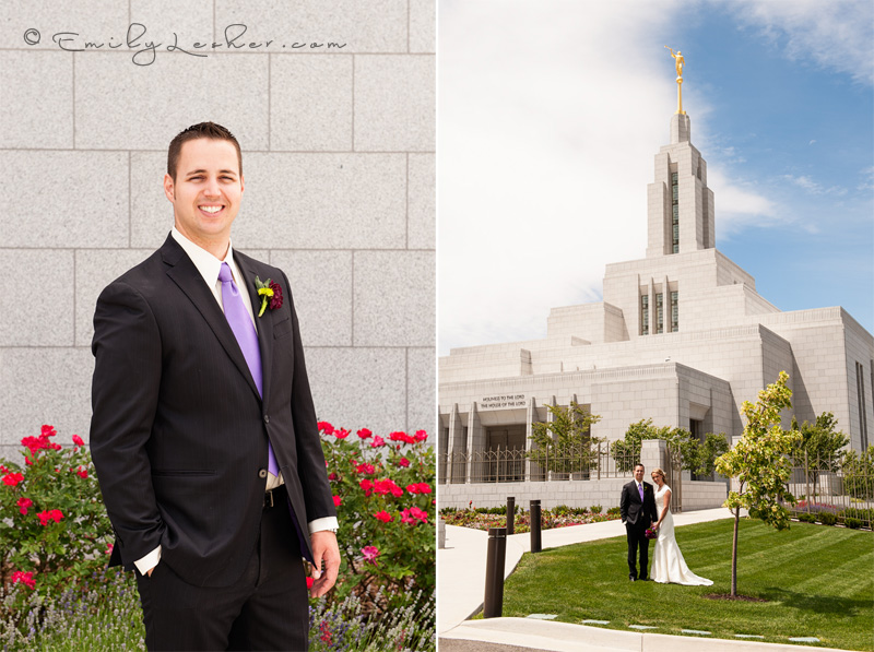 bride and groom at the Draper LDS temple