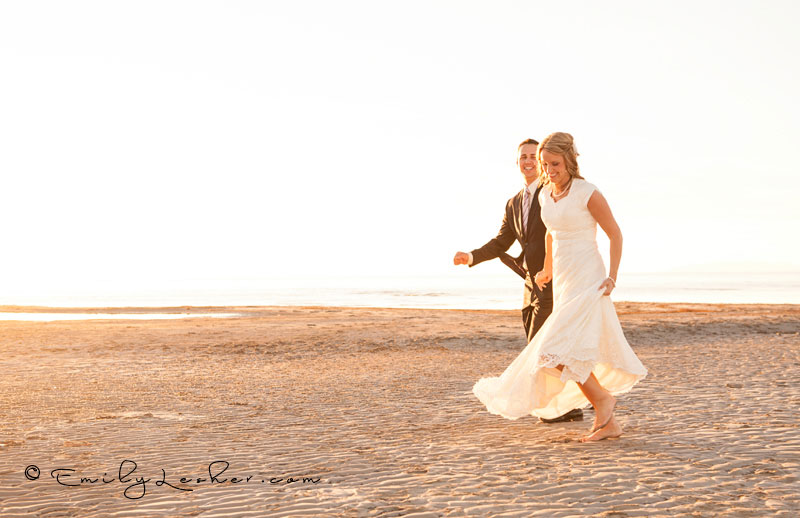 Bride and groom running at the Salt Flats