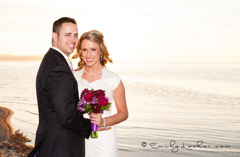bride and groom, beach