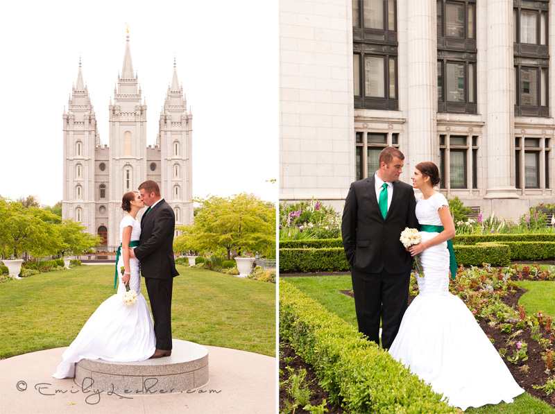bride and groom at the Joseph Smith Memorial building gardens