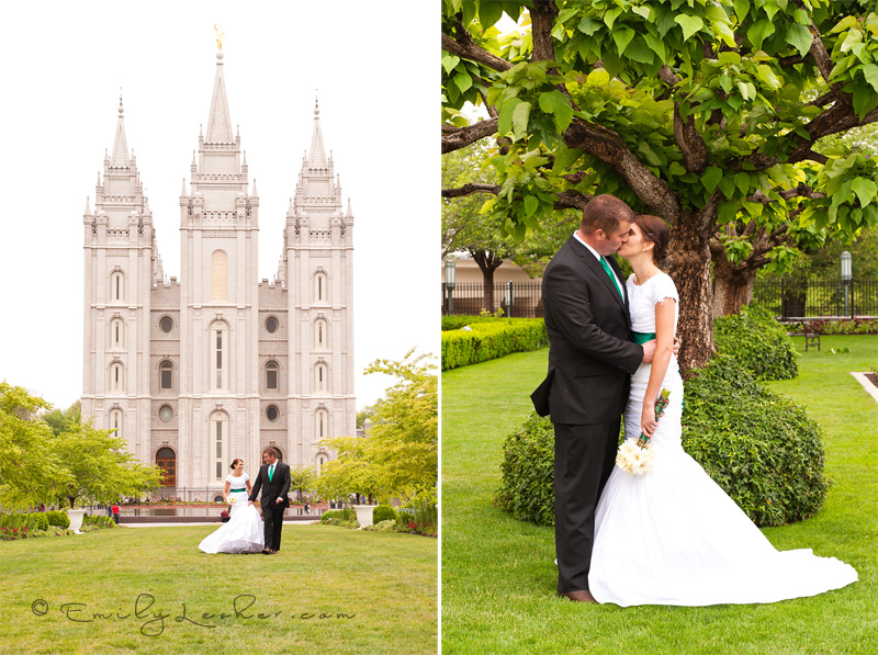 bride and groom at the Salt Lake Temple