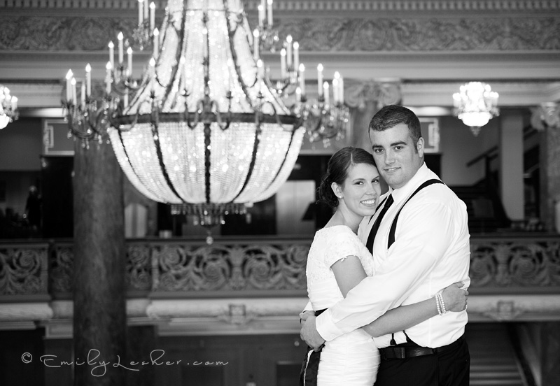 bride and groom at the Joseph Smith Memorial building
