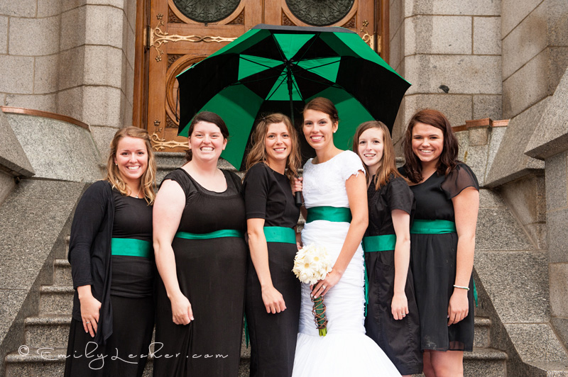green umbrella, wedding day, rain