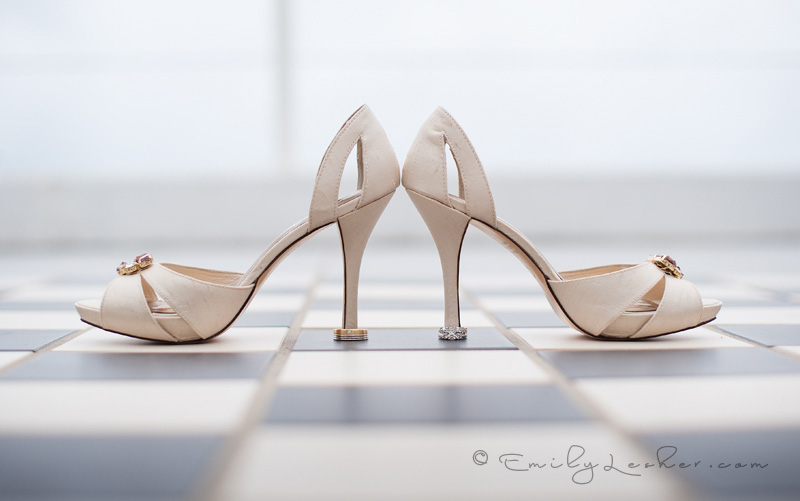 wedding rings and wedding shoes