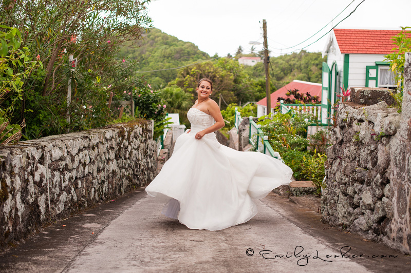 Bride dancing, narrow road, Saba