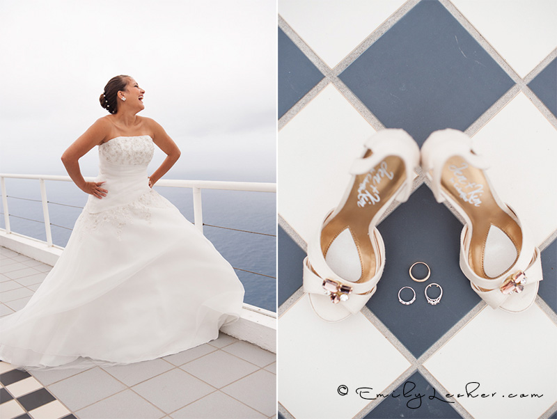 happy bride, shoes and rings