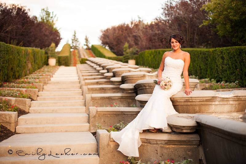 bride sitting on fountains
