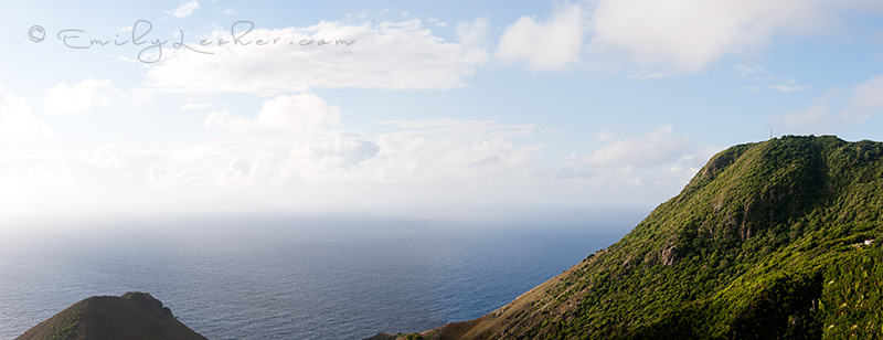 Saba mountains, ocean, panoramic