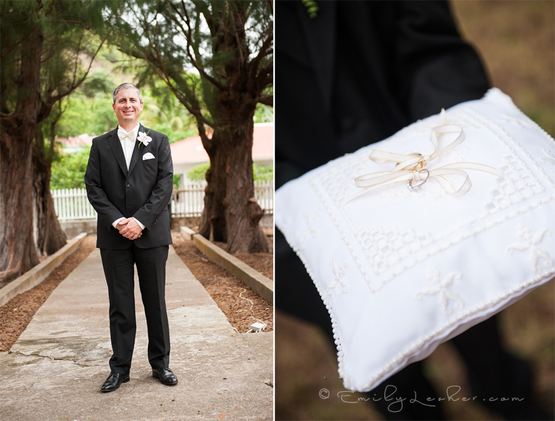 Groom, wedding rings, ring pillow