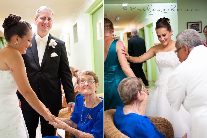 bride and groom visiting grandma in rest home