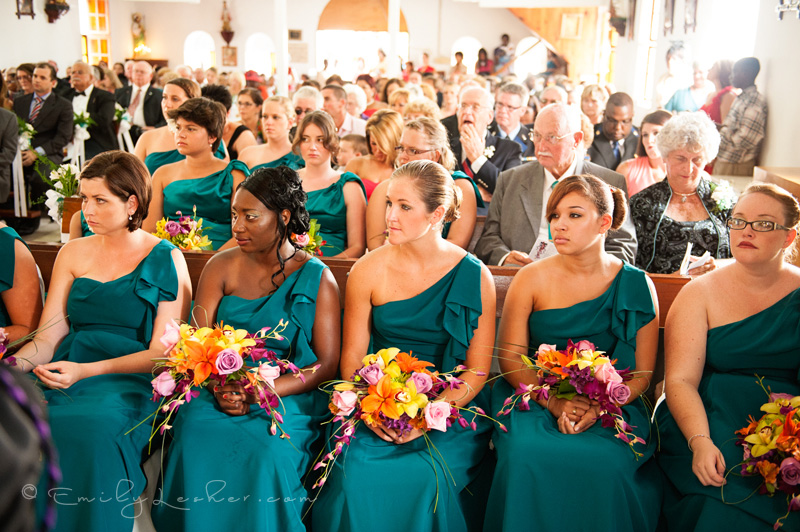 guests at wedding, full wedding chapel, bridesmaids