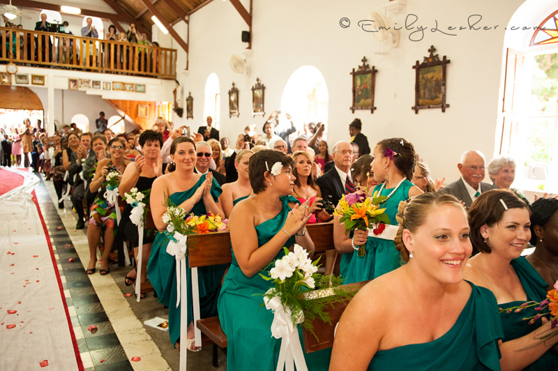 happy guests, clapping, full wedding chapel