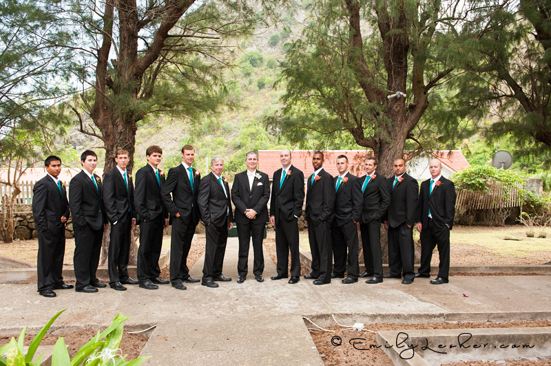 Groomsmen lined up, groomsmen in suits