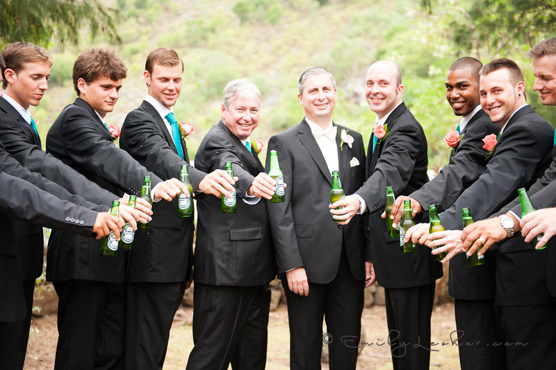 groomsmen drinking Heineken, beer, suits, Caribbean wedding