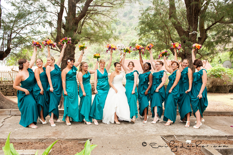 bridesmaids having fun, throwing flowers, showing leg