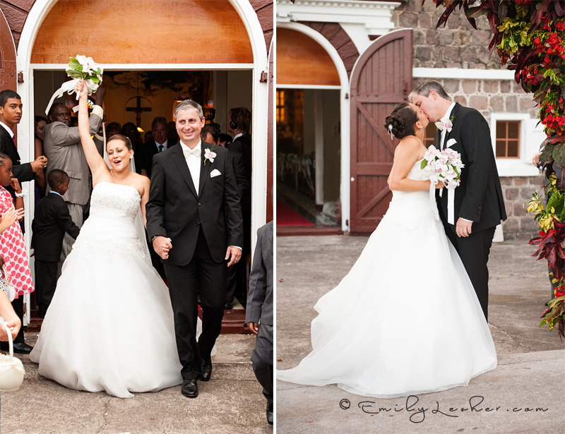 Cheering bride and groom, wedding kiss, Caribbean wedding, Saba Catholic Church