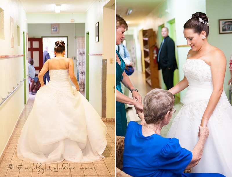 bride running down the hall, old folks home, grandma