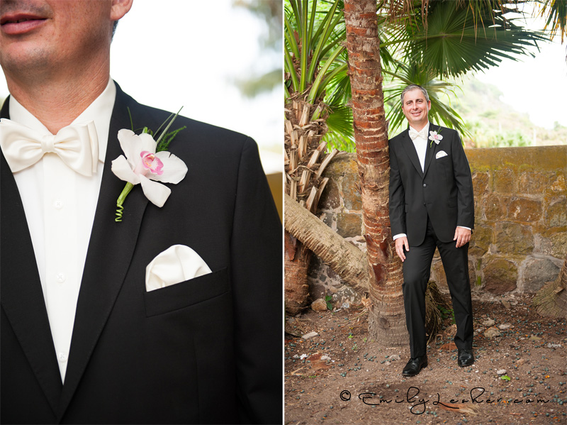 Groom, flowers, Governor of Saba, groom by palm trees, caribbean