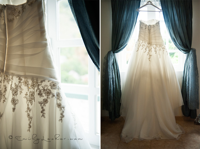 wedding dress, details on wedding dress, wedding dress hanging in front of window
