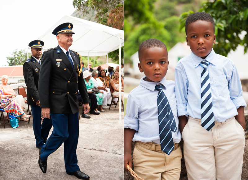dignitaries, black children at wedding, blue shirts, blue ties, men in uniform