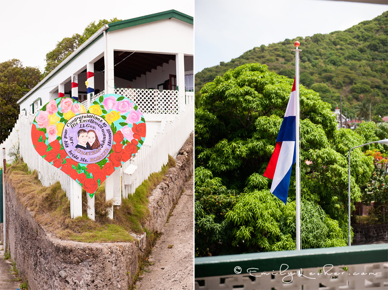 painting of Governor of Saba, Saba flag, mountains, saba house