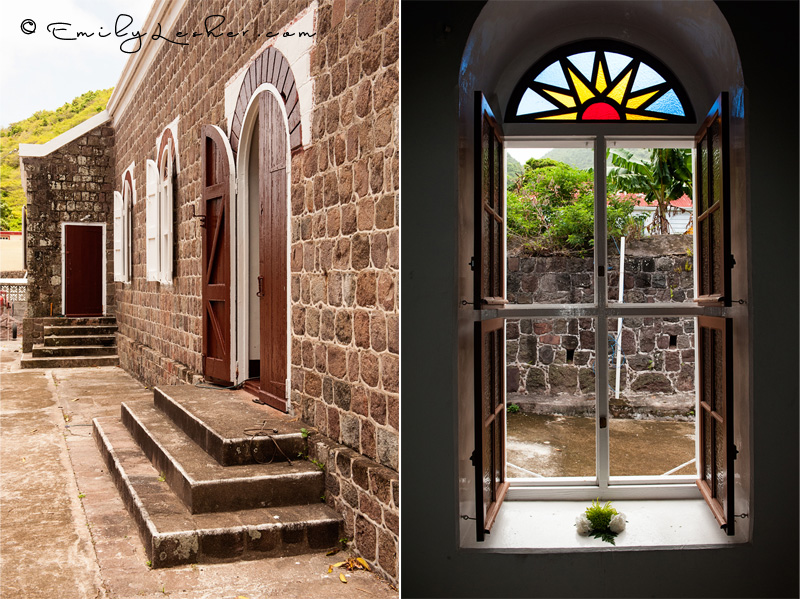 Catholic Church on Saba, details, window, stained glass window, rock wall, rock building