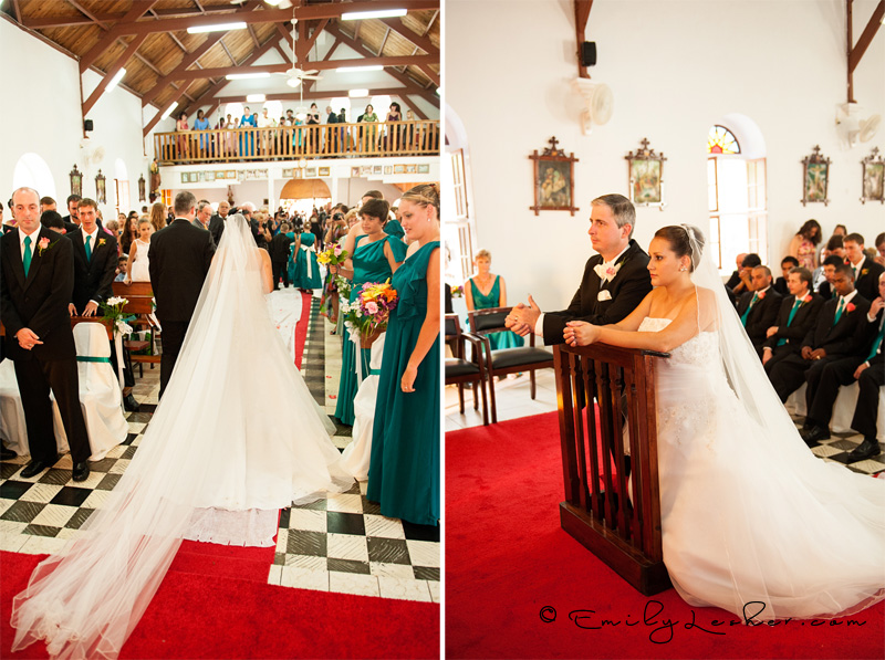bride and groom kneeling at altar, just married, walking down aisle