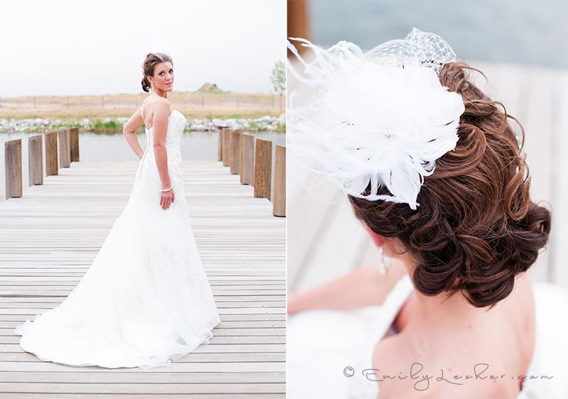 bride on pier, mountains, feather veil, curly updo, white wedding dress