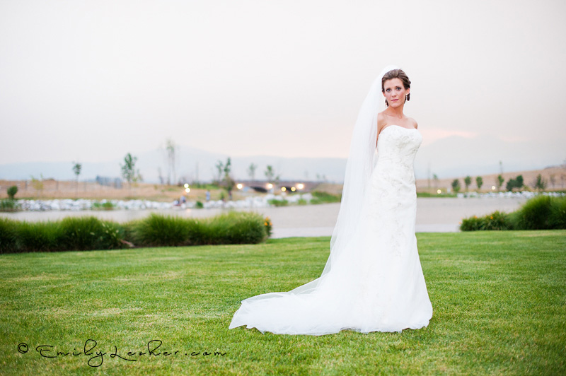 green grass, bride standing on grass, long veil,