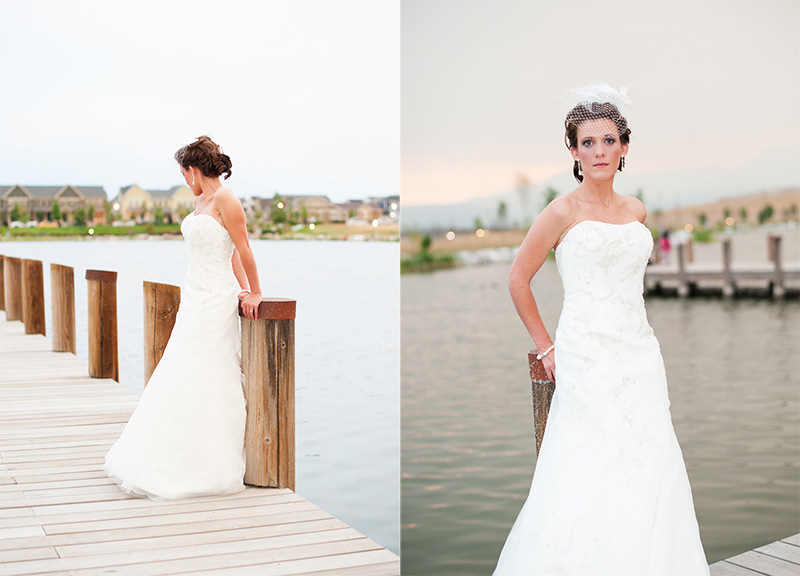 Bride on dock, looking away from camera, dark skies, sunset