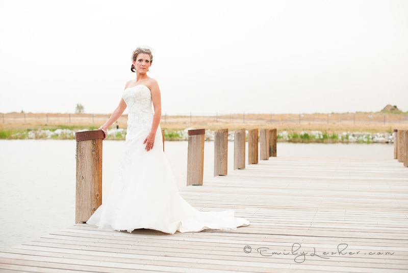 Daybreak Utah, bride on bridge, strapless dress, net veil