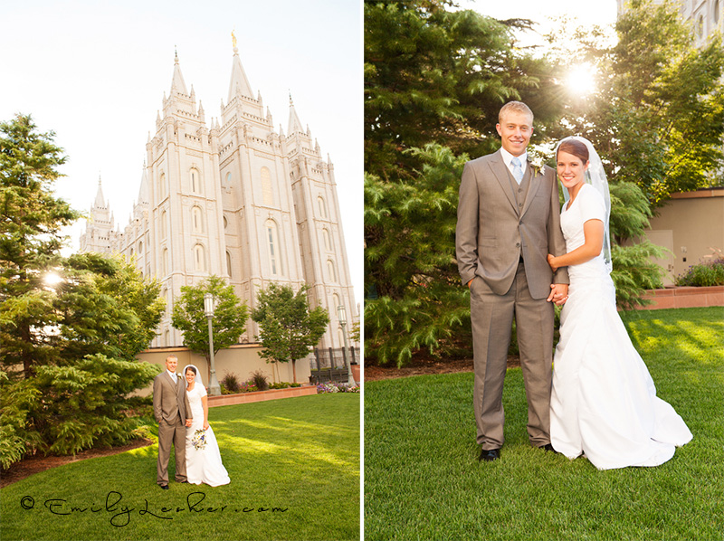 Salt Lake Temple, bride and groom, sunburst, happy couple, LDS wedding