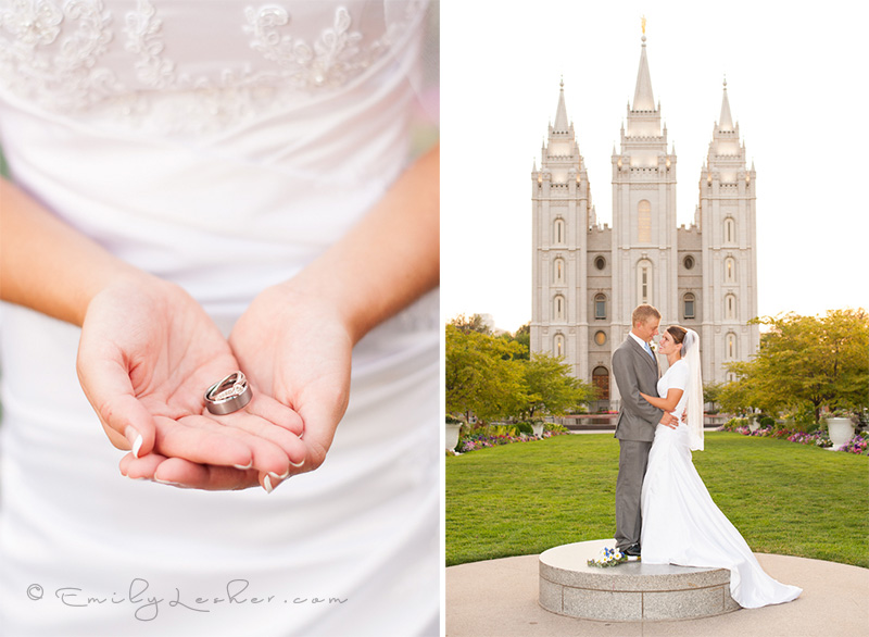 wedding rings, wedding couple on podium in front of the Salt Lake Temple