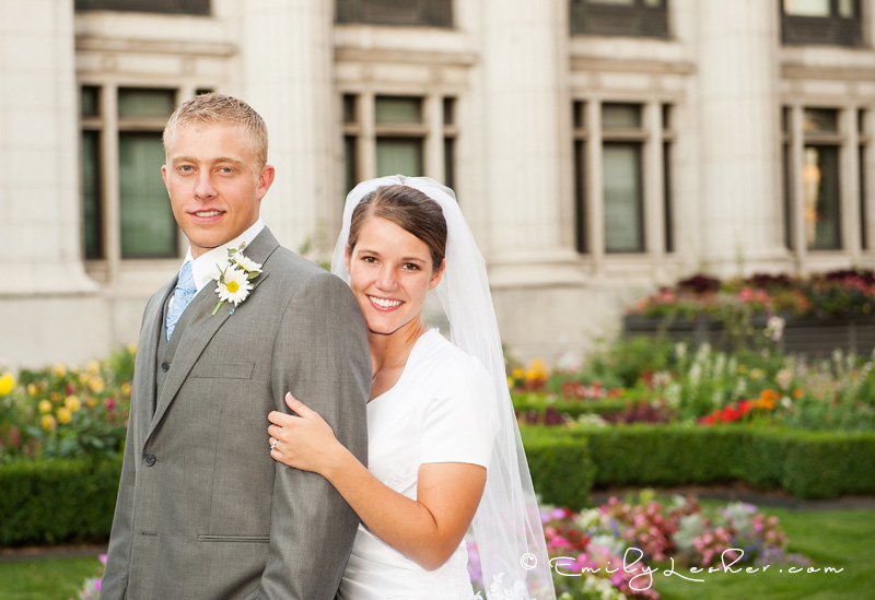 bride and groom at the Joseph Smith Memorial building, gardens