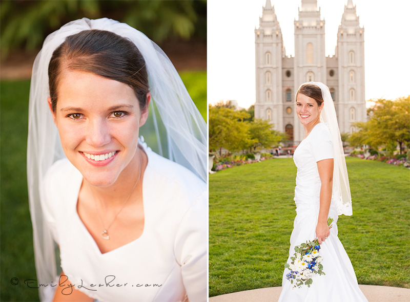 bridal portrait, bride in front of the Salt Lake LDS Temple