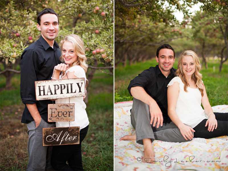 happily ever after sign, apple orchard, engaged couple