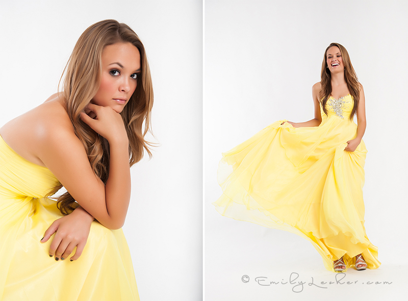 modeling swishing dress, model laughing