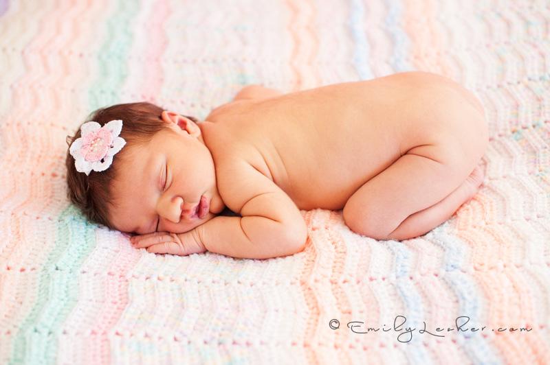 naked baby girl, sleeping baby, crocheted afghan