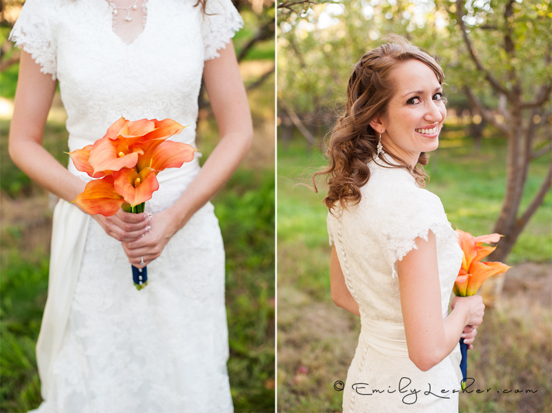 orange orchids, bridal bouquet