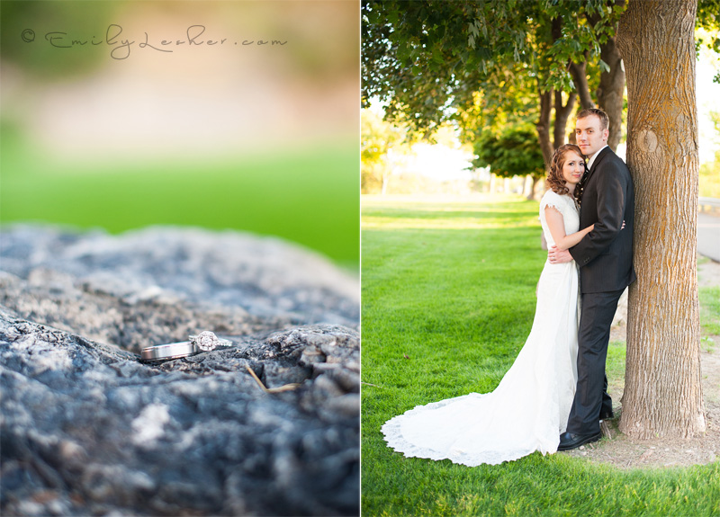 wedding rings, on rock, bride and groom in park